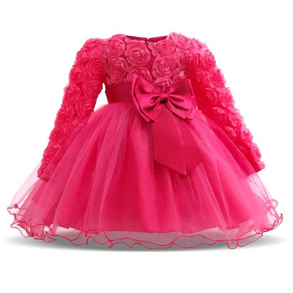 Little Baby Girl Clothes Autumn Long Sleeves Lace Dress 3M-24M Baby Girls 1st 2nd Birthday Party Dresses Vestido Bebes Menina