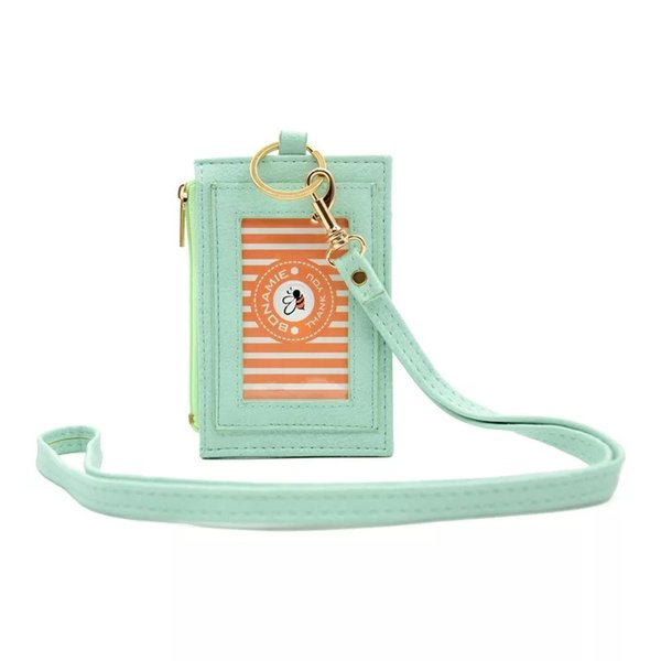 Slim PU neck badge card wallet with lanyard Wholesale Mini Card Holder Portable ID Card Bus Cards Cover Case Office Work Keychain Tool
