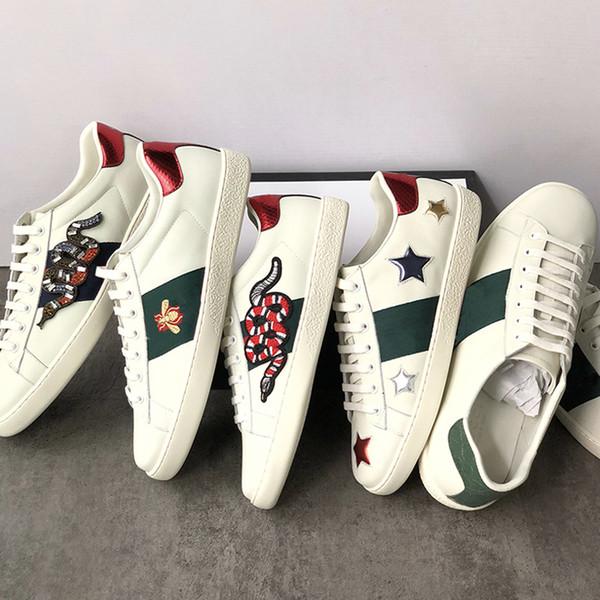 Genuine 2019 Couro Flats Designer Tênis Das Mulheres Dos Homens Clássicos Sapatos Casuais Python Abelha De Tigre Flor Bordado Galo Tênis de Amor