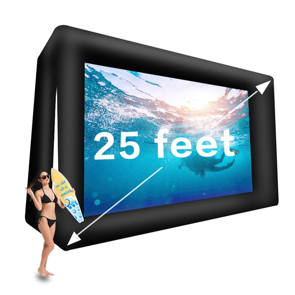 25 feet inflatable movie screen outdoor projector screen mega airblown theater screen- includes air blower, tie-downs and storage bag (25ft)