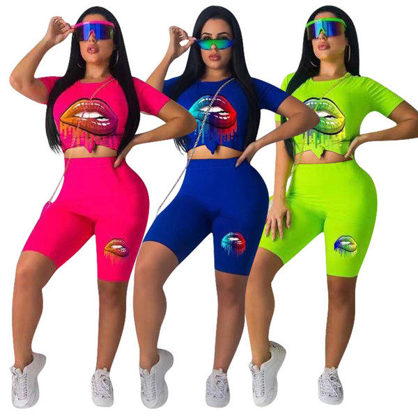 Contraste Cor Lips Imprimir Moda Sportswear Mulheres Casuais 2 Peça Set Manga Curta O Pescoço Fino Tees E Calça Senhora Império Fatos
