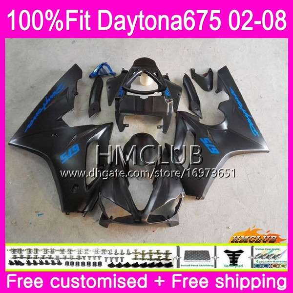 Injection Body For Triumph Daytona 675 02 03 04 05 06 07 08 43HM.16 Daytona675 2002 2003 2004 2005 2006 2007 2008 OEM Matte black Fairing
