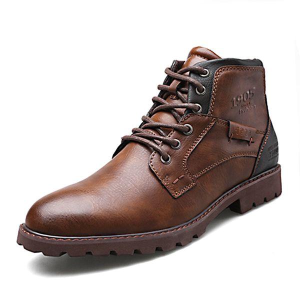 Erkekler Vintage Bilek Boots Sonbahar Kış Erkek Ayakkabı Casual Erkek Deri Ayakkabı Rahat Adam Çizme 2019 Yeni Geliş