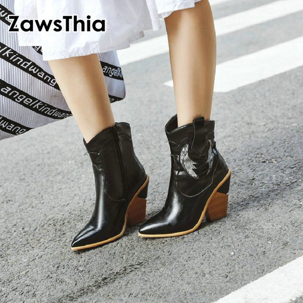 ZawsThia 2019 winter strange high heels loose fur boots for woman black white snow boots female ankle  plus size 46