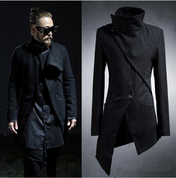 wholesale- 2017 new korean harajuku gothic irregular designer punk men's overcoat long black trench coat slim fit windbreaker jacket