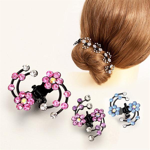 6 Pcs 2017 Fashion Plum Flower Rhinestone Women Girls Hair Claw Clips Hairpins Barrettes Accessories For Children Hair Ornaments