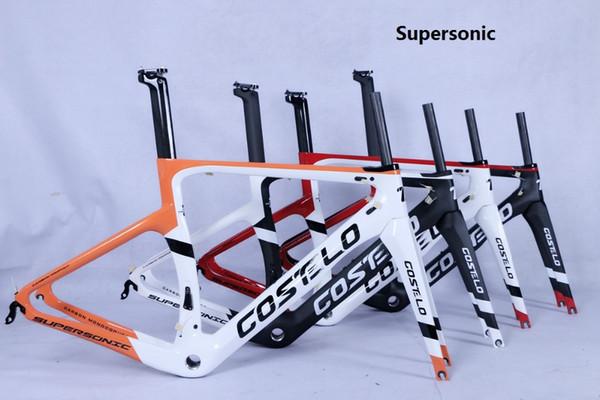 Costelo süpersonik yol bisikleti karbon fiber bisiklet çerçeve çatal kelepçe seatpost Karbon Yol bisiklet disk aks Bici velo