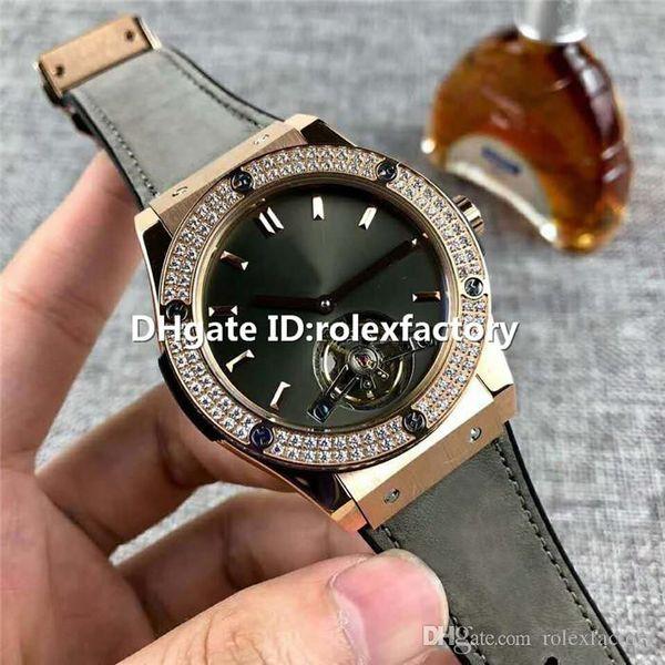 New Luxury Watch Real Skeleton tourbillon Automatic Sapphire Crystal Rose Gold Case Diamond Bezel Rubber calfskin strap Mens Watch