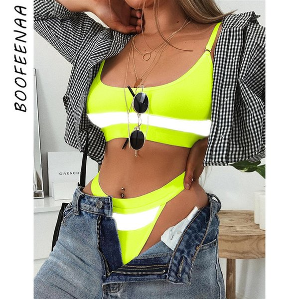BOOFEENAA Sexy Reflective Neon Green 2 Piece Set Summer Trendy Clothes for Women Swim Suit Shorts and Crop Top 2019 C54-I12