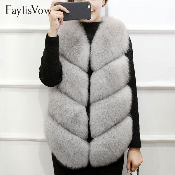 Faux Fox Fur Coat Winter Women Soft Warm Plush Fur Vest High Quality Female Overcoat Outwear Ladies Gilet Plus Size 3XL