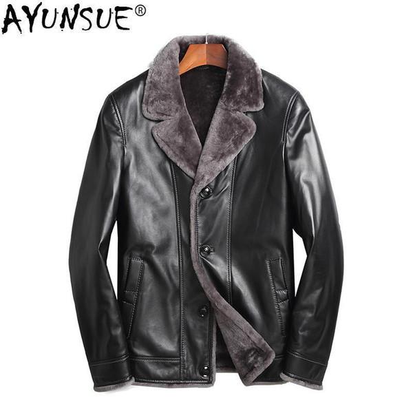 AYUNSUE Genuine Sheepskin Leather Jacket Men Real Wool Fur Liner Coat Autumn Winter Plus Size Coats Chaqueta Cuero Hombre ZL860