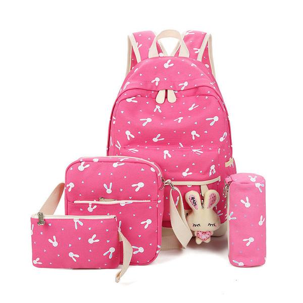 4 adet / takım Tavşan Kız Erkek Dizüstü Gençler için Okul Sırt Çantaları Kadın Bagpack Femme Sevimli Tuval Satchel Çocuk Sırt Çantaları Çanta