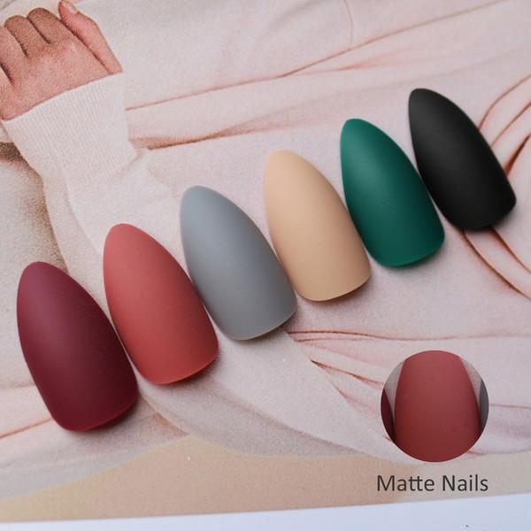 72pcs Stiletto Cercueil Mat Faux Ongles ABS Ballerines Courtes Artificielles Faux conseils Ongles Décorations Femmes Nail Art