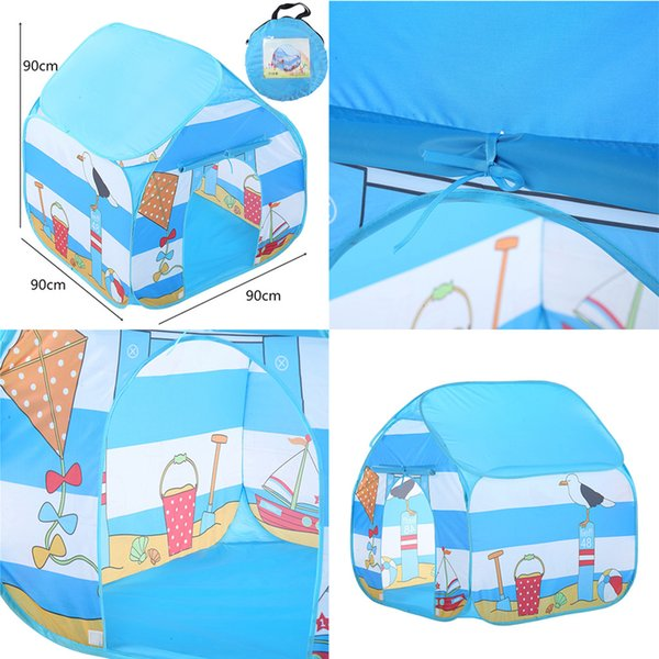 Folding Children Kids Play Tent Indoor Outdoor Toy House for Boys Girls Seaside Outdoor Parent-Child Activities Tent Camping T6#