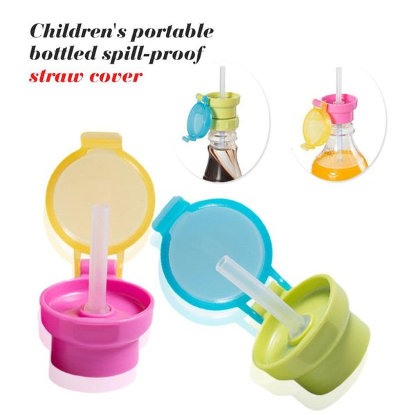 No Spill Choke Cute Water Bottle Adapter Cap With Tube Drinking Straw For Baby Infants Silica Gel Portable Hygiene Drink Feeder
