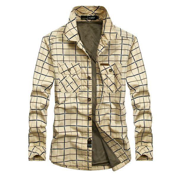 Winter Warm Fleece Plaid Casual Shirt Men Long Sleeve Thick Dress Shirts Cotton British Army Khaki Clothes 2609a