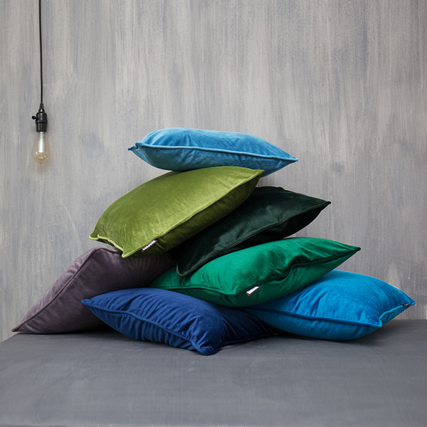 Luxury Fashion 24 Candy Colors Velvet Cushion Cover Blue Gray Pillow Cover Pillow Case Home Decorative Sofa Chair Throw Pillows