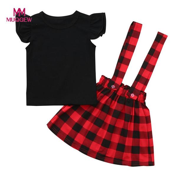 de63be453 20Wedding Party Suit SetMUQGEW Fashion Toddler Infant Kids Baby Girls Solid  Ruffle Short Sleeve Tops Plaid