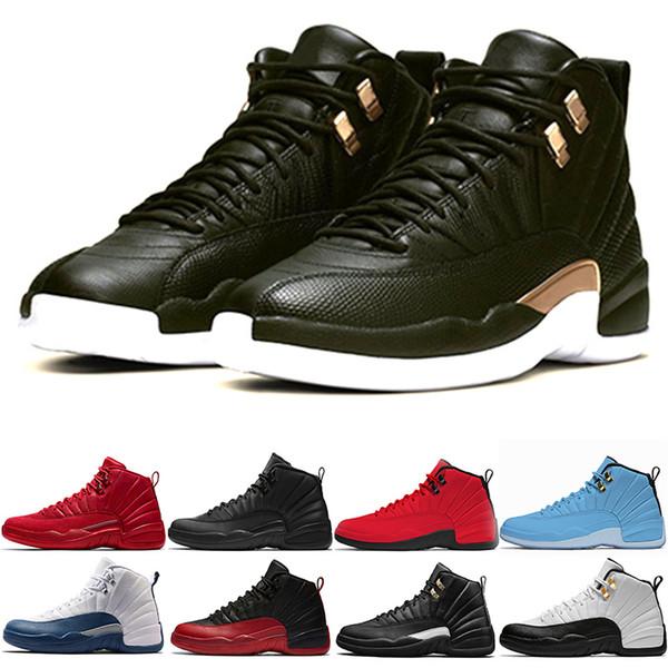 Nike Air Jordan 12 Retro Erkekler Için 12 12 s Basketbol Ayakkabı 2019 Yeni Midnight Siyah gribi Oyunu Usta Spor Salonu Kırmızı CNY Taksi Tasarımcısı XII Eğitmenler Spor Sneakers