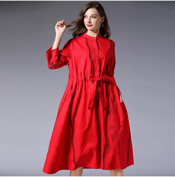 Grosso millimetro delle donne di grandi dimensioni mm2019 nuovo vestito nella sezione lunga era camicia a righe sottili stampa F252