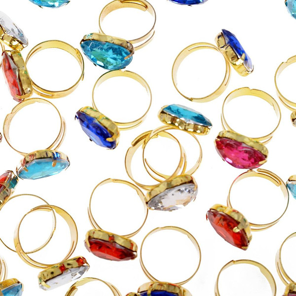 100pcs Adjustable Colorful Ring For Children For Gifts Birthday Creative Gift Random Colors Jewelry Size Diameter 16-17