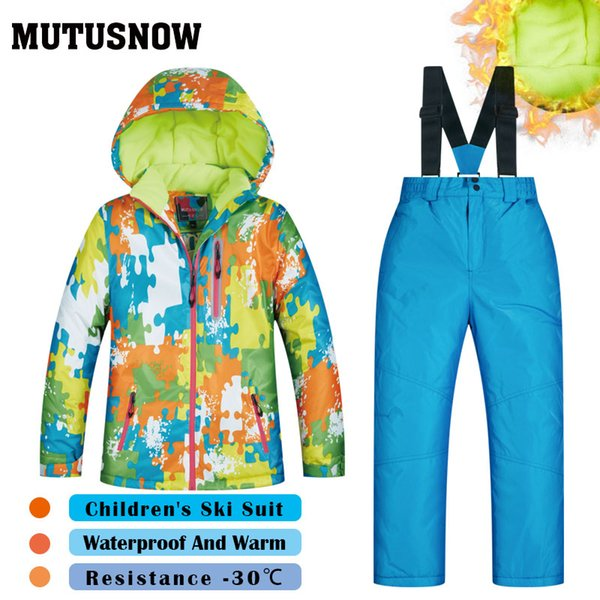 MUTUSNOW Girls And Boys Ski Suit New Children's Brands High Quality Windproof Waterproof Snow Super Warm Child Winter Thick Snowboard Suit