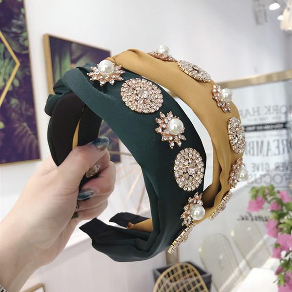 Kadınların saç bandı kristal için yeni lüks saç aksesuarları süper geniş yan büküm düğümlü saç bandı şapkaya yanıp