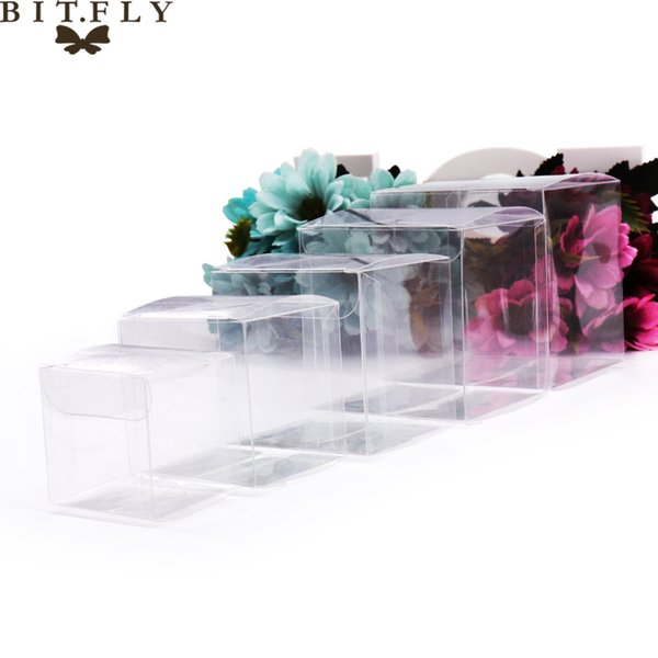 50pcs PVC Clear Transparent Candy Box Gifts Birthday Wedding Favor Holder Chocolate Candy Boxes Event Sweet Candy Bags /jewelry C18112701