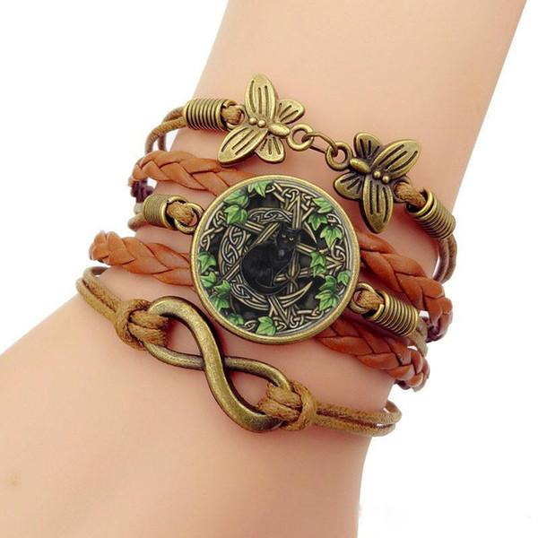 Nicely Wicca Black Cat Photo Charm Bracelets for Women Fashion Glass Cabochon Butterfly Infinity Jewelry Multilayer Leather Bracelet