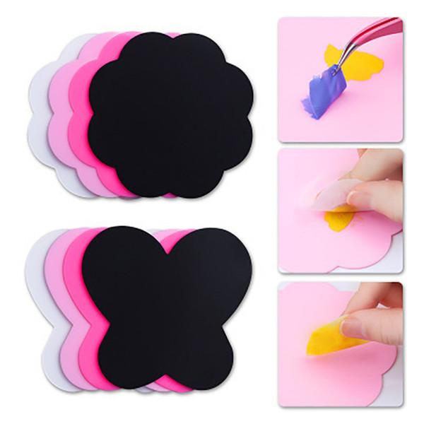 Neue marke 2 stück faltbare und waschbare matte silikon malen beutel blume plum butterfly nail art kissen