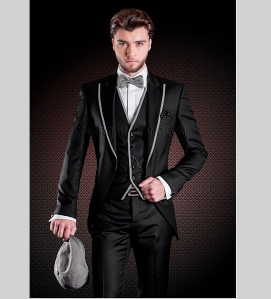 Fashionable Groom Tuxedos Shiny Black Groomsmen Peak Lapel Best Man Suit Wedding/Men Suits Bridegroom ( Jacket+Pants+Vest+Tie ) A319