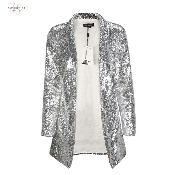 Argento Moda Donna Autunno Nuovo paillettes paillettes cappotti girano-giù Spedizione a maniche lunghe Outwears Cardigan Giacche Goccia