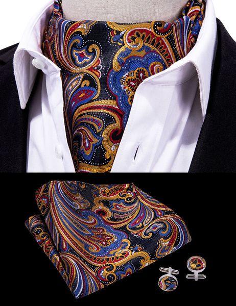 Hi-Tie Classic Paisley Ascot Floral Cravat Ascot Vintage Fazzoletto da polso Cuffie Cravatta Set per uomo Festa di nozze AS-0005