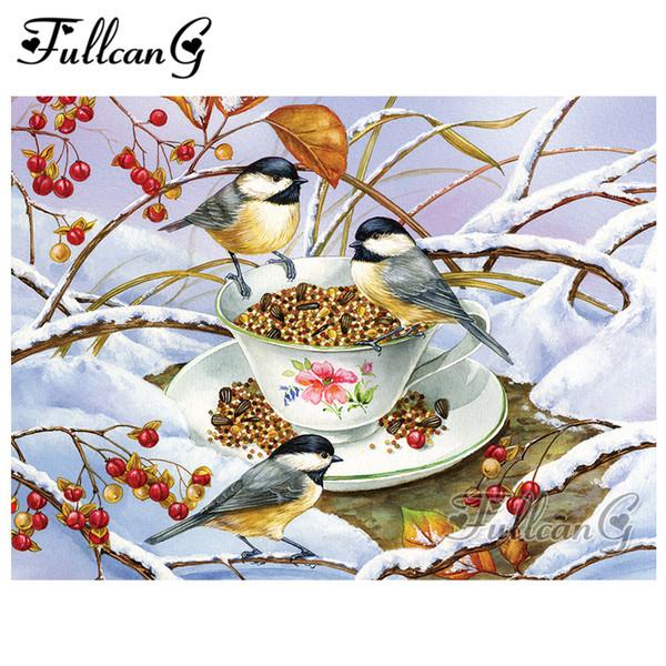 FULLCANG mosaico 5d pittura diamante neve alimentari uccello fai da te pieno diamante quadrato ricamo kit animale punto croce G804
