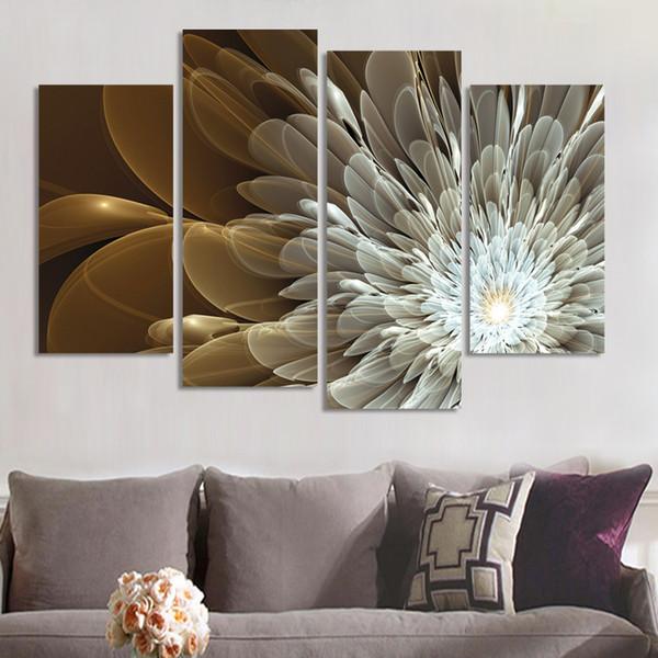Innendekoration 4Panels Reichtum und Luxus Blumen Leinwand Wandkunst Bild Home Decor auf Leinwand moderne Wandmalerei