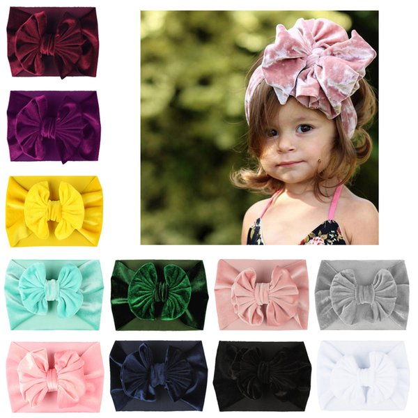 The new children pleuche big bow bowknot wide elastic hair accessories multicolor holiday baby girls hair band fashion photo props