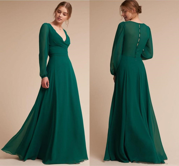 853ad2d08d6 Elegant Hunter Green Mother Of The Bride Dresses With Long Sleeves New 2019  Deep V Neck