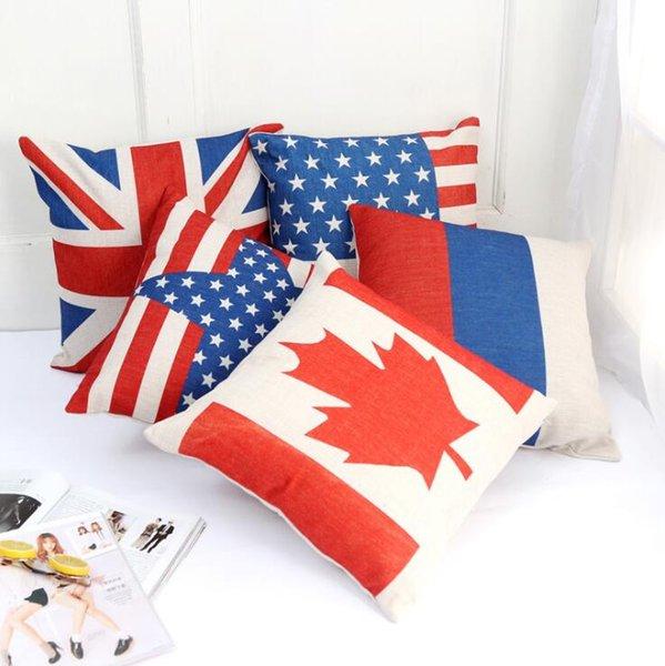 Англия Америка Flag Подушка Обложка Хлопок белье Декоративные наволочки стул Британский стиль Подушки Дело Синий Красный Геометрическая 45 * 45см