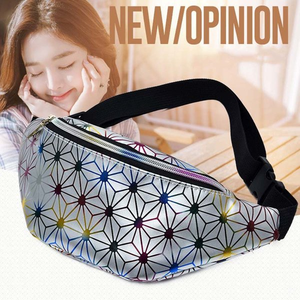 5pcs sacchetti di vita olografica pacchetto di fanny per le donne borsa da cintura viaggio all'aperto geometria paillettes pacchetto di fanny femminile pacchetti vita luminosa