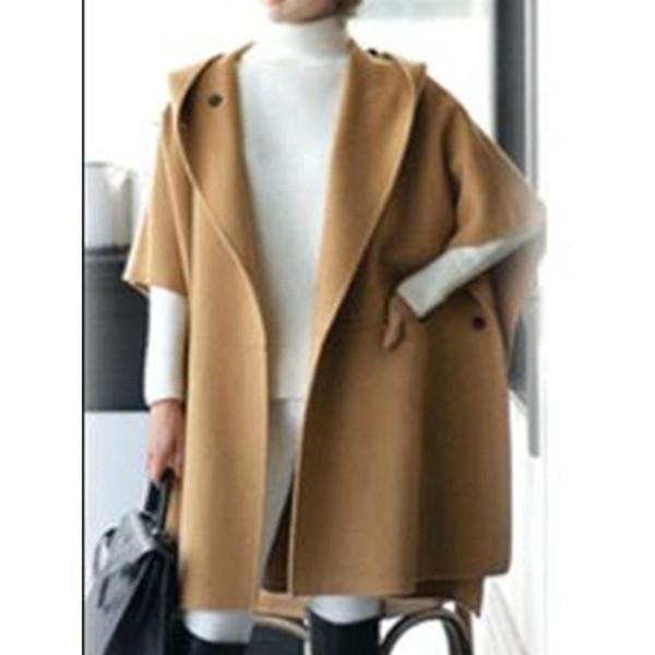 Cappotto in lana da donna Plus Size Poncho Slim Autunno Inverno Cappotto casual Capispalla Cappotti rossi caldi Moda allentata Cappotti neri con cappuccio