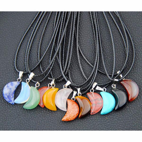 Lot 12 pcs de mode mixte pierre naturelle lune pendentif collier chanceux pierre de lune porte bonheur colliers giftsMN427