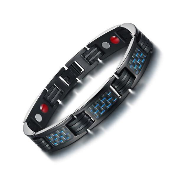 ZORCVENS In fibra di carbonio Bio Energy Power Bracciale magnetico per uomo Bracciale in acciaio inossidabile Sanità gioielli maschili