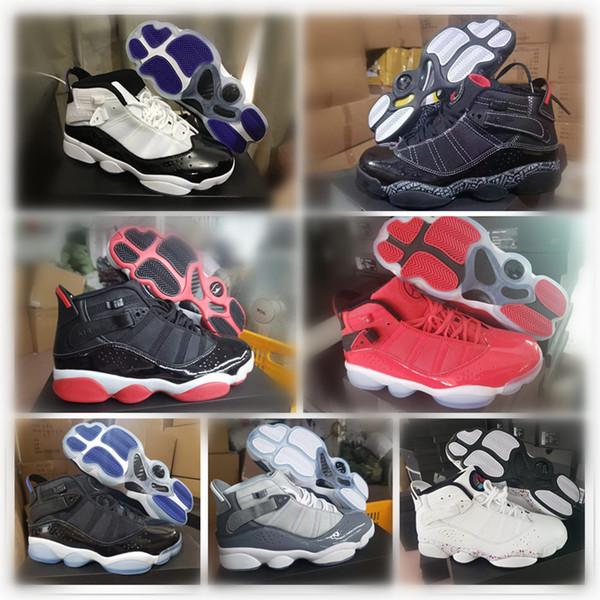 Série AIR Sports sapatos seis anéis cinza Vermelho Branco Preto Homens tênis de basquete Sports Sneakers Top Quality