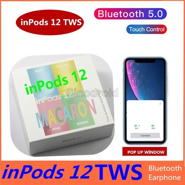 Inpod 12 macaron tw wirele earbud bluetooth 5 0 earphone touch control port hifi 3d tereo head et for iphone huawei martphone 50pc