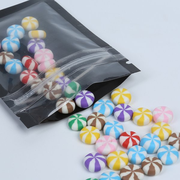 6.5x9cm Sacchetti per imballaggio richiudibili di piccola dimensione Blu bianco Viola Nero Mylar Zip Borse per imballaggio 100 pz / lotto
