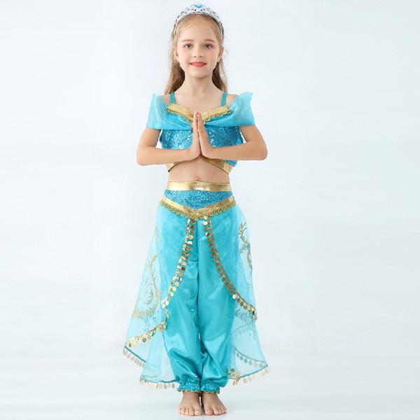 Niños Aladdin Lámpara Jasmine Princess trajes niños Cosplay de dibujos animados Niños maquillaje fiesta ropa niña diseñador ropa GGA2164