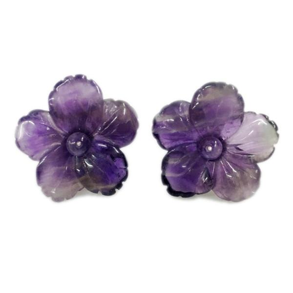 Lii Ji Gemstone Natural Amethyst Flower 925 Sterling Silver Stud Earring Y18110503