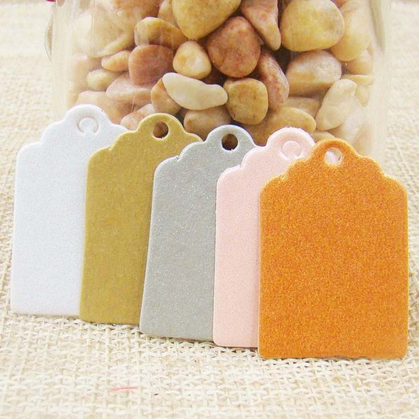 2*3cm1000pcs scallop pearl paper tags white/green/grey/pink/orange stock Label Luggage Wedding Note Blank price Hang Gift tag