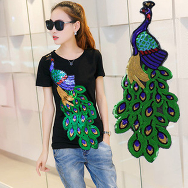 Peacock Sequins Patches Decorative Clothes Sequin Embroidery Stickers Decals DIY Apparel Sewing Fabric Tools