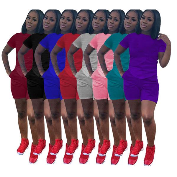 Marca de diseñador para mujer Conjunto de 2 piezas de chándal jersey de manga corta, cuello redondo, camiseta, leggings bodycon, pantalones cortos, ropa de verano y talla 8